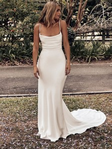 Mermaid Scoop Neck Cross Back White Prom Dresses with Train,Evening Party Dresses