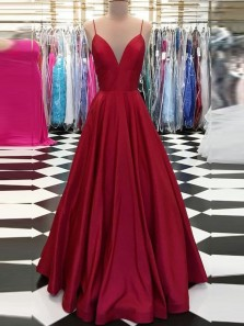 Stylish A-Line V Neck Spaghetti Straps Open Back Dark Red Satin Long Prom Dresses with Pockets,Evening Dresses