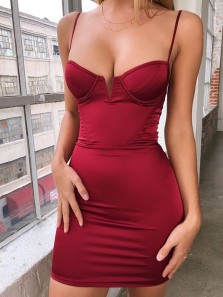Sexy Body con Low Cut Spaghetti Straps Open Back Burgundy Elastic Satin Mini Prom Party Dresses,Evening Dresses