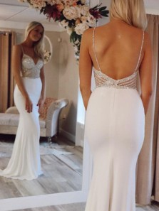 Luxurious Mermaid V Neck Backless Spaghetti Straps White Long Prom Dresses with Beading,Formal Prom Gown