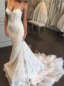 Glamorous Mermaid Sweetheart Lace Wedding Dresses with Train