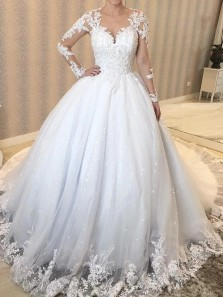 Ball Gown Sheer Neck Long Sleeve White Tulle Wedding Dresses with Appliques