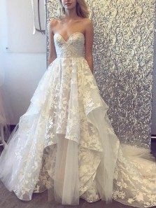 Romantic A-Line Sweetheart Open Back Ivory Lace Wedding Dresses