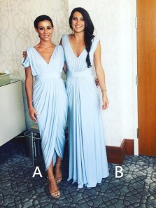 Cheap A-Line V Neck Light Sky Blue Chiffon Long Bridesmaid Dresses Under 100