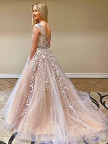 Gorgeous A-Line Boat Neck Champagne Tulle Long Prom Dresses with Appliques Beading