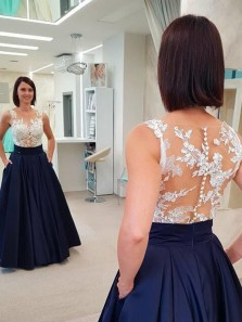 Elegant A-Line Round Neck Navy Blue Satin Long Prom Dresses with White Lace,Formal Party Dresses