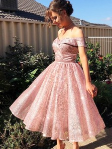 Cute A-Line Off the Shoulder Open Back Pink Glitter Sequins Ankle Length Prom Dresses with Pockets,Homecoming Dresses 2020