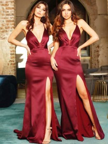 Stunning Mermaid Deep V Neck Open Back Burgundy Elastic Satin Long Bridesmaid Dresses with Slit,Evening Party Dresses,Cheap Prom Dresses