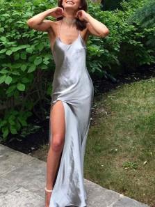 Simple Sheath Spaghetti Straps Silk Satin Long Prom Dresses with High Slit Under 100