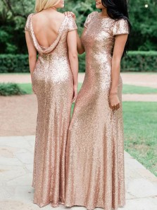 Elegant Mermaid Boat Neck Cap Sleeve Gold Sequin Long Bridesamid Dresses,Mother of the Bride Dresses