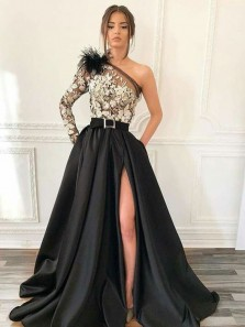 Unique A-Line One Shoulder Long Sleeve Black Satin and White Lace Long Prom Dresses,Charming Pageant Dresses