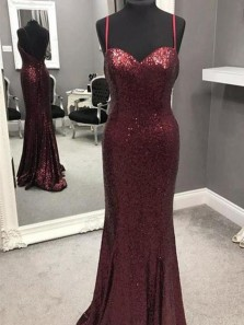 Sparkly Mermaid Spaghetti Straps Open Back Burgundy Sequins Long Prom Dresses,Formal Evening Party Dresses