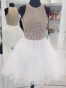 White round neck tulle sequin short prom dress, white homecoming dress