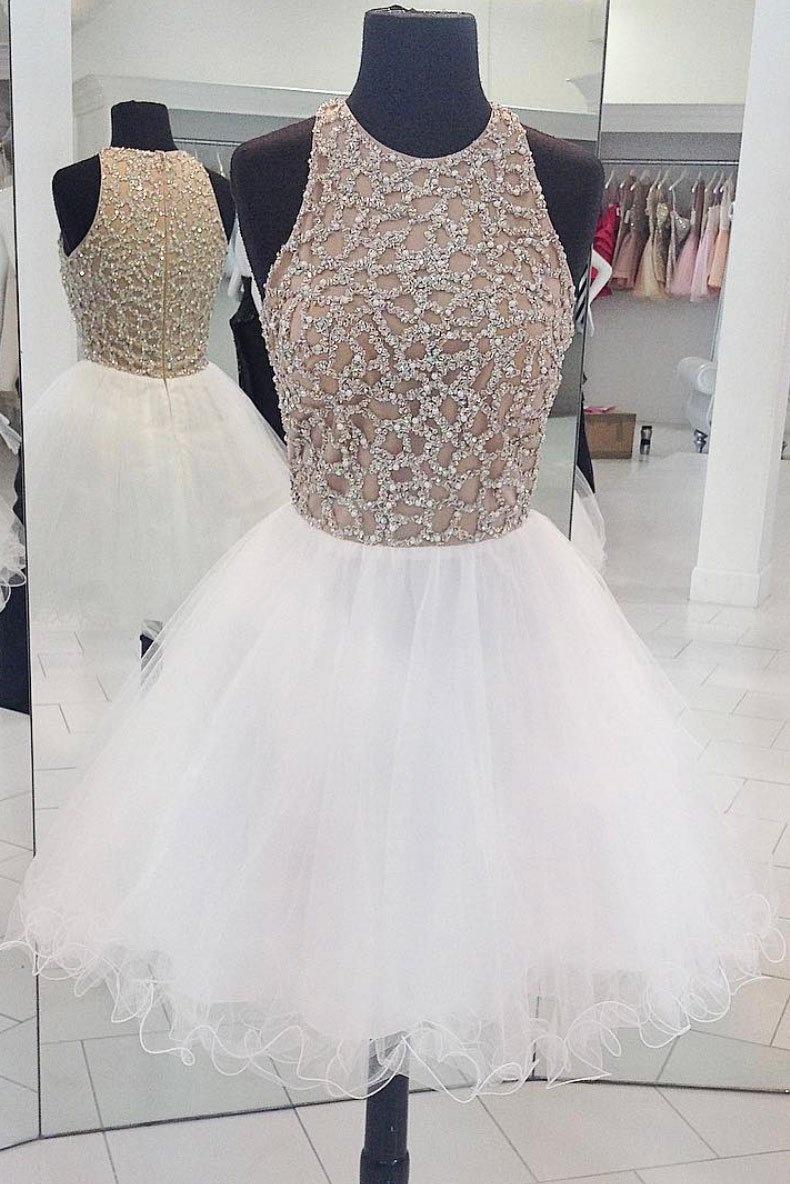 f894e88f02c White round neck tulle sequin short prom dress, white homecoming dress