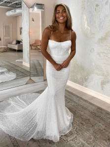 Sexy Mermaid Sweetheart White Sequins Wedding Dresses,Sparkly Bridal Gown