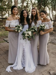 Elegant Two Piece Off the Shoulder Grey Elastic Satin Long Bridesmaid Dresses with White Lace Top