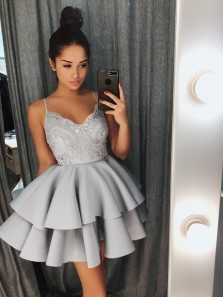Chic A-Line Spaghetti Straps Open Back Grey Satin Tiered Short Homecoming Dresses with Appliques