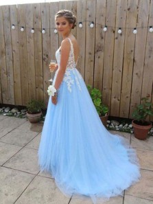 Elegant A-Line V Neck Open Back Sky Blue Tulle Long Prom Dresses with Lace,Charming Quinceanera Dresses