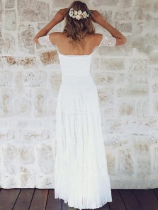 Modest A-Line Off the Shoulder Open Back White Lace Wedding Dresses,Beach Wedding Dresses 2019