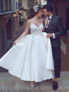 Cute A-Line V Neck Spaghetti Straps Backless White Satin Tea Length Wedding Dresses,Lace Wedding Dresses