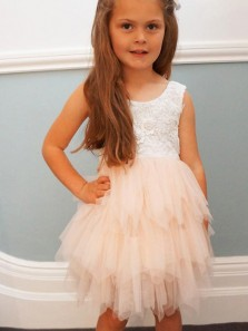 Adorable A-line Knee length Pink Flower Tulle & Lace Flower Girl Dress