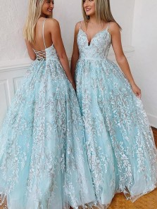 Charming A-Line Sweetheart Cross Back Blue Tulle Long Prom Dresses with Appliques,Quinceanera Dresses