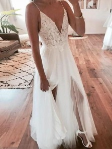Simple A-Line V Neck Spaghetti Straps Backless White Lace Wedding Dresses,Beach Wedding Dresses