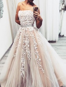 Charming A-Line Strapless Champagne Tulle Long Prom Dresses with White Appliques,Formal Evening Party Dresses