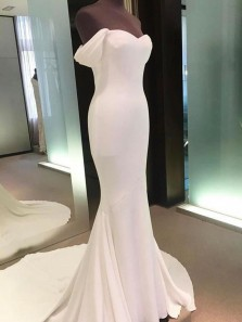Unique Mermaid Off the Shoulder Open Back White Elastic Satin Long Prom Dresses with Train,Evening Party Dresses