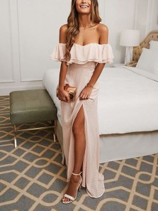 Charming A-Line Off the Shoulder Pale Pink Chiffon Long Prom Dresses with Split,Summer Evening Party Dresses