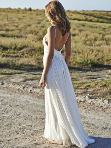 Simple A-Line Spaghetti Straps Backless White Lace Wedding Dresses,Beach Wedding Dresses