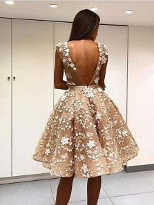 Luxurious A-Line Round Neck Backless Champagne Satin Short Prom Dresses with Beading Appliques