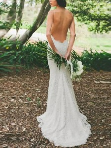 Romantic Mermaid Spaghetti Straps Backless White Lace Wedding Dresses