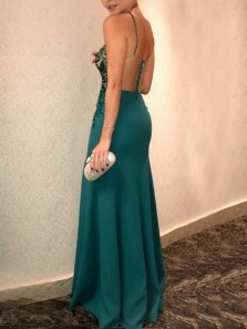 Charming Mermaid Halter Open Back Green Satin Long Prom Dresses,Elegant Evening Party Dresses