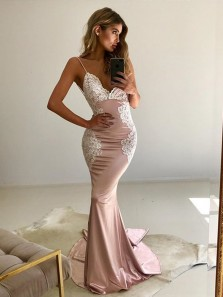Sexy Mermaid V Neck Spaghetti Straps Backless Blush Elastic Satin Long Prom Dresses with Lace,Formal Party Dresses