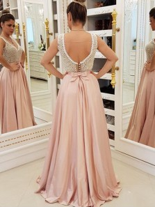 Unique A-Line V Neck Open Back Pale Pink Satin Long Prom Dresses with Pearls,Formal Party Dresses