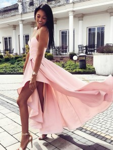 Cute A-Line V Neck Spaghetti Straps Open Back Pink Satin High-Low Prom Dresses,Cocktail Party Dresses