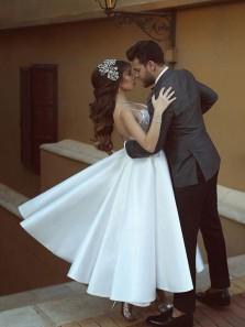 Cute A-Line V Neck Spaghetti Straps Backless White Satin Tea Length Wedding Dresses,Lace Wedding Dresses