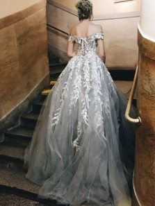 Unique A-Line Off the Shoulder Open Back Grey Tulle Long Prom Dresses with Lace,Formal Party Dresses