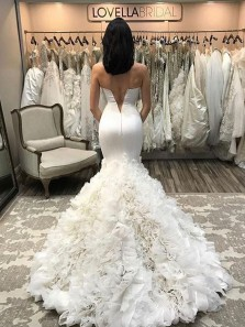 Romantic Mermaid Sweetheart Open Back White Wedding Dresses,Bridal Gown