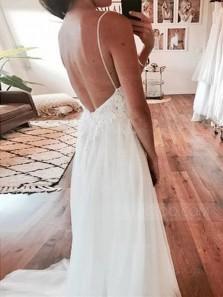 Simple A-Line V Neck Spaghetti Straps Backless White Lace Wedding Dresses,Beach Wedding Dresses