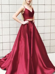 Charming A-Line Two Piece Spaghetti Straps Burgundy Satin Long Prom Dresses with Pockets
