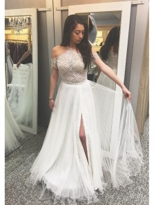 A-Line Halter Cold Shoulder Slit Side White Chiffon Prom Dress with Beading