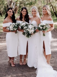 Beautiful Sheath Off the Shoulder White Tea Length Bridesmaid Dresses with Slit