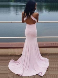 Sexy Mermaid Halter Open Back Pink Satin Long Prom Dresses with Side Split,Charming Evening Party Dresses