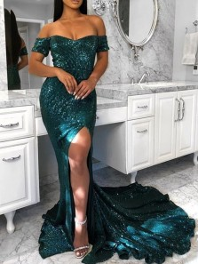 Mermaid Off the Shoulder Short Sleeve Open Back Green Sequins Long Prom Dresses,Evening Gown with Slit