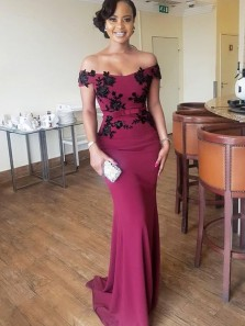 Charming Mermaid Off the Shoulder Open Back Red Satin Long Bridesmaid Dresses with Black Appliques,Prom Dresses 2019