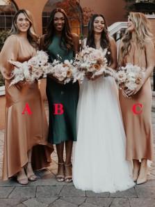 Boho Sheath Halter Hunter Green Midi Length Bridesmaid Dresses Under 100