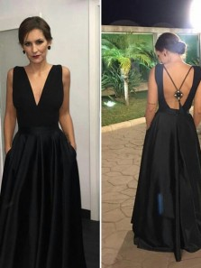 Chic A-Line V Neck Backless Black Satin Long Prom Dresses with Pockets,Evening Party Dresses