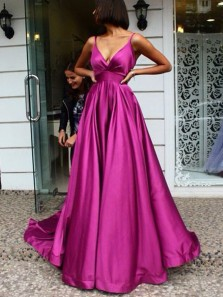 Simple A-Line V Neck Spaghetti Straps Open Back Rose Red Satin Long Prom Dresses,Evening Party Dresses